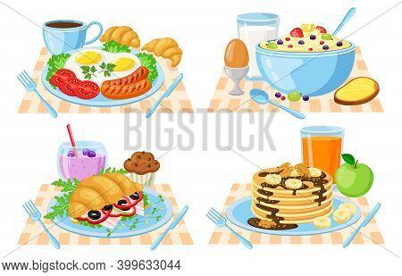 Cartoon Breakfast. Healthy, Delish Breakfast Menu, Pancakes, Croissant, Vegetables, Orange Juice And