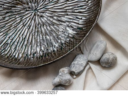 Detailed Of Ceramic Plate On Calico. Ceramic Tableware, Beautiful Arrangement.