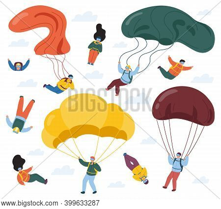 Skydivers With Parachutes. Extreme Parachuting And Skydiving Sport, People Falling With Parachutes.