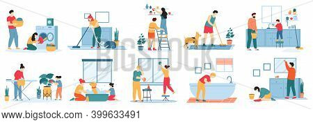 Home Cleaning. People Do Housework, Vacuuming Carpet, Washing Dishes, Ironing And Laundry. Housekeep