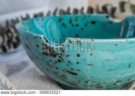 Details Of Ceramic Bowl With Dried Flowers On Calico. Beautiful Arrangement.