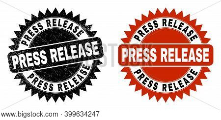 Black Rosette Press Release Seal Stamp. Flat Vector Grunge Seal Stamp With Press Release Phrase Insi