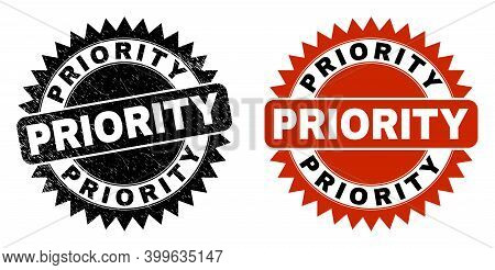 Black Rosette Priority Seal Stamp. Flat Vector Textured Seal Stamp With Priority Phrase Inside Sharp