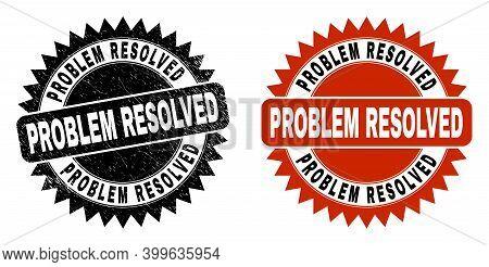Black Rosette Problem Resolved Seal Stamp. Flat Vector Distress Seal Stamp With Problem Resolved Tit