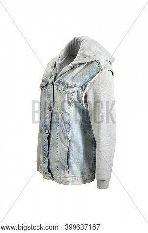 Stone washed hoody denim jacket on invisible mannequin isolated on white background