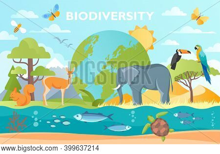 Biodiversity As Natural Wildlife Species Or Fauna Protection Abstract Concept. Ecosystem Climate Dif