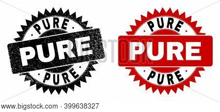 Black Rosette Pure Seal Stamp. Flat Vector Scratched Stamp With Pure Message Inside Sharp Rosette, A