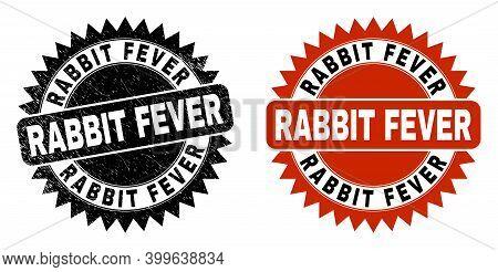 Black Rosette Rabbit Fever Seal Stamp. Flat Vector Distress Seal Stamp With Rabbit Fever Caption Ins