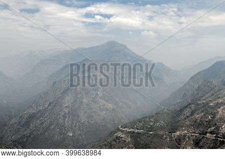 Hazy View Following Wildfires In California At Junction View In Kings Canyon National Park.