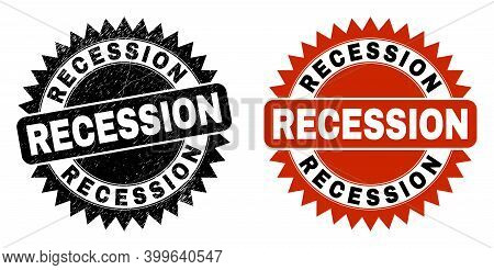 Black Rosette Recession Seal Stamp. Flat Vector Grunge Seal Stamp With Recession Phrase Inside Sharp