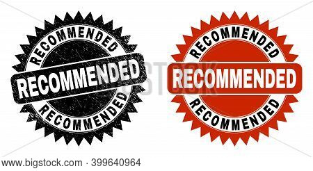 Black Rosette Recommended Watermark. Flat Vector Distress Watermark With Recommended Caption Inside