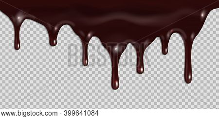 Melted Dark Chocolate Dripping Isolated On Transparent Background. Vector 3d Realistic Illustration