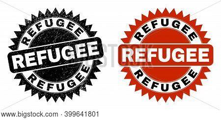 Black Rosette Refugee Seal. Flat Vector Grunge Seal Stamp With Refugee Message Inside Sharp Rosette,