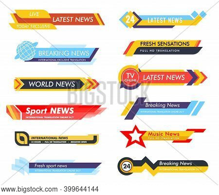 Breaking News. Lower Third Tv News Bars Vector Set. Live News. Banners For Broadcasting Television V
