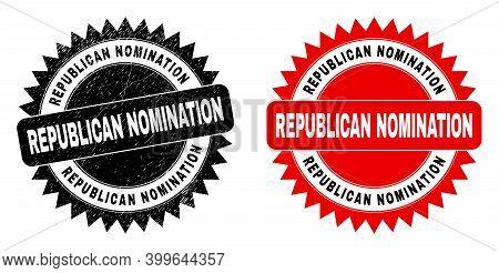 Black Rosette Republican Nomination Seal. Flat Vector Grunge Seal With Republican Nomination Caption
