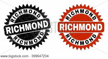 Black Rosette Richmond Stamp. Flat Vector Scratched Seal Stamp With Richmond Phrase Inside Sharp Sta