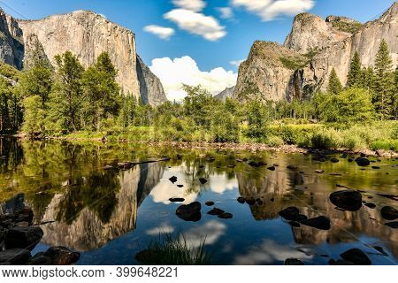 Yosemite Valley View At Yosemite National Park. Yosemite Valley Is A Glacial Valley In Yosemite Nati