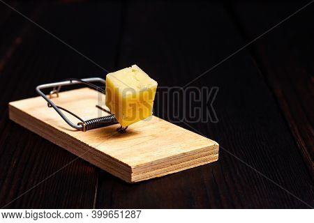 Wooden Mousetrap With A Piece Of Yellow Cheese On A Dark Wooden Background. Rodent Trap. Catch The M