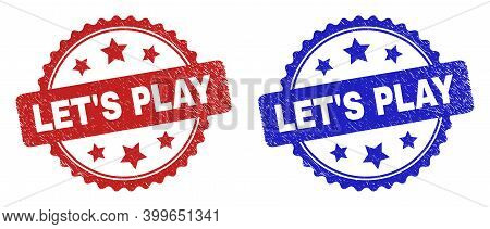 Rosette Let's Play Watermarks. Flat Vector Textured Watermarks With Let's Play Message Inside Rosett