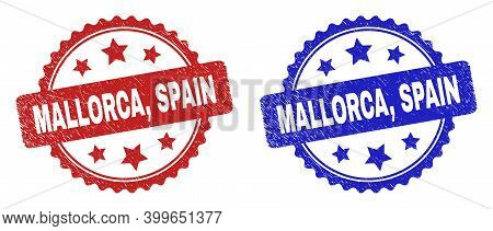 Rosette Mallorca, Spain Seal Stamps. Flat Vector Grunge Stamps With Mallorca, Spain Text Inside Rose