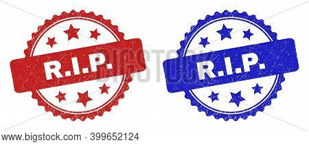 Rosette R.i.p. Stamps. Flat Vector Scratched Seal Stamps With R.i.p. Message Inside Rosette With Sta