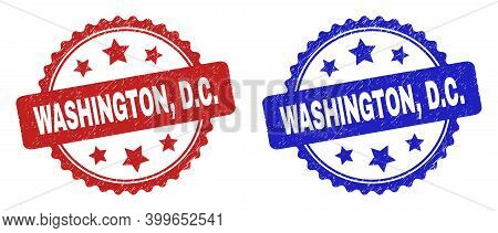Rosette Washington, D.c. Stamps. Flat Vector Textured Stamps With Washington, D.c. Message Inside Ro