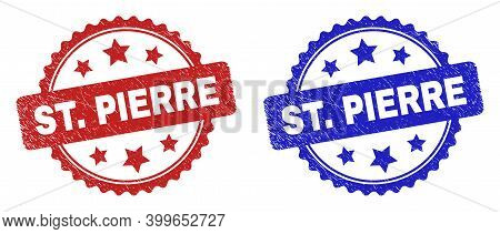 Rosette St. Pierre Seal Stamps. Flat Vector Grunge Seal Stamps With St. Pierre Message Inside Rosett