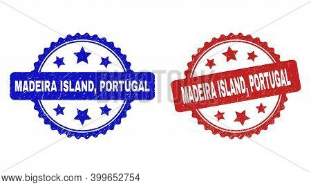 Rosette Madeira Island, Portugal Seal Stamps. Flat Vector Grunge Seal Stamps With Madeira Island, Po