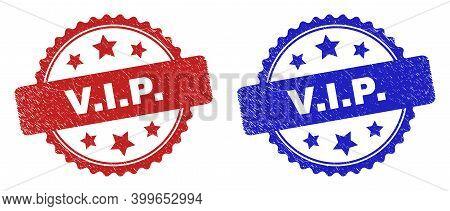 Rosette V.i.p. Seal Stamps. Flat Vector Scratched Seal Stamps With V.i.p. Caption Inside Rosette Wit