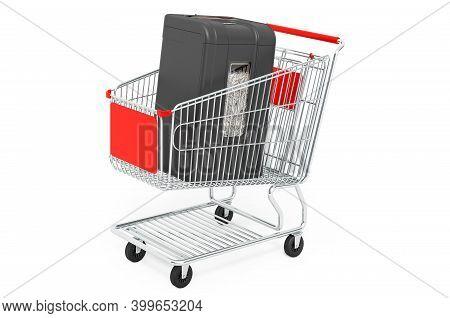 Paper Shredder Inside Shopping Cart, 3d Rendering Isolated On White Background