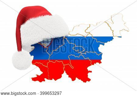 Slovenian Map With Red Santa Hat. New Year And Christmas Holidays Concept, 3d Rendering Isolated On