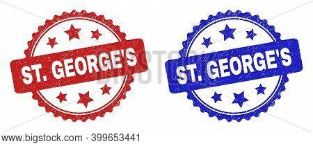 Rosette St. George's Seals. Flat Vector Grunge Seals With St. George's Phrase Inside Rosette Shape W