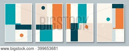 Set Of Abstract Geometric Wall Art. Mid Century Illustration In Minimal Style For Wall Decoration Ba