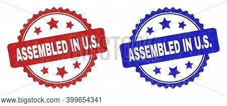 Rosette Assembled In U.s. Watermarks. Flat Vector Grunge Watermarks With Assembled In U.s. Text Insi