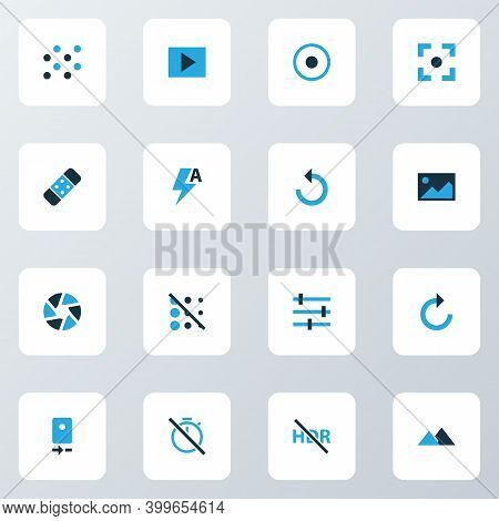 Image Icons Colored Set With Slideshow, Chronometer, Circle And Other Reload Elements. Isolated Illu