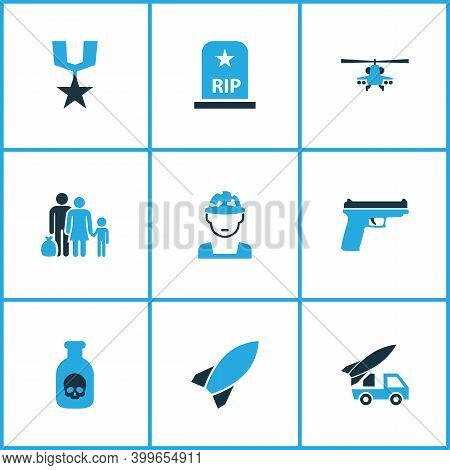 Warfare Icons Colored Set With Order, Tomb, Venom And Other Refugee Elements. Isolated Illustration