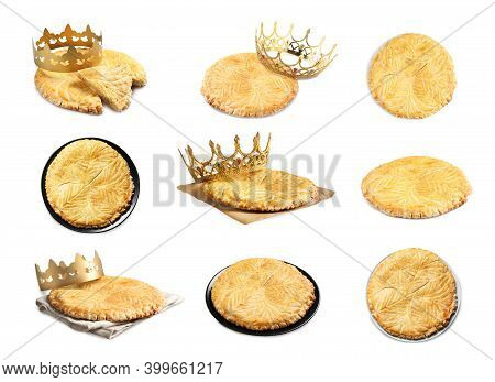 Set Of Traditional Delicious Galettes Des Rois On White Background
