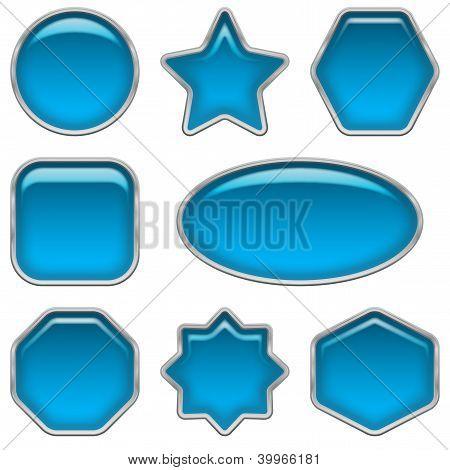 Blue glass buttons, set