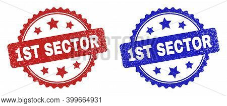 Rosette 1st Sector Seal Stamps. Flat Vector Scratched Seal Stamps With 1st Sector Text Inside Rosett
