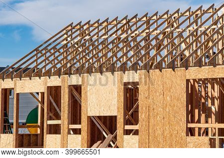 Frame Of Walls And Rafters Roof Home Unfinished