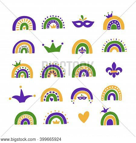 Mardi Gras Carnival Vector Illustration. New Orleans Festival. Fat Tuesday. Traditional Symbol Fleur