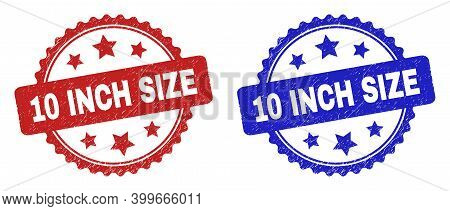 Rosette 10 Inch Size Seal Stamps. Flat Vector Grunge Seal Stamps With 10 Inch Size Text Inside Roset