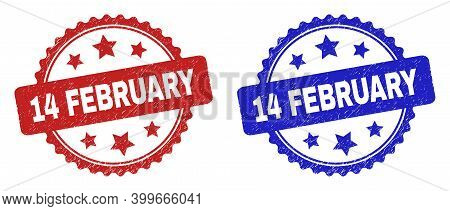 Rosette 14 February Stamps. Flat Vector Grunge Seal Stamps With 14 February Title Inside Rosette Sha