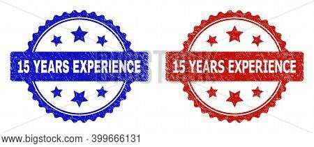 Rosette 15 Years Experience Stamps. Flat Vector Textured Seal Stamps With 15 Years Experience Title
