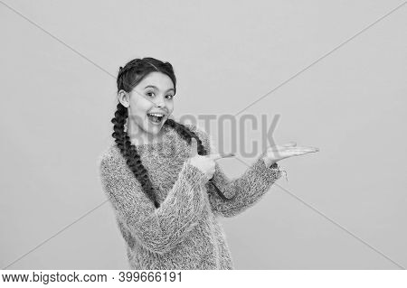 Childhood Happiness. Beautiful Braided Long Hair. Stylish Braids And Pigtails. Copy Space. Teenage G