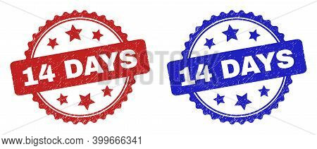 Rosette 14 Days Seal Stamps. Flat Vector Scratched Seal Stamps With 14 Days Text Inside Rosette With