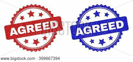 Rosette Agreed Watermarks. Flat Vector Distress Seal Stamps With Agreed Message Inside Rosette With
