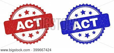 Rosette Act Watermarks. Flat Vector Scratched Seals With Act Caption Inside Rosette Shape With Stars