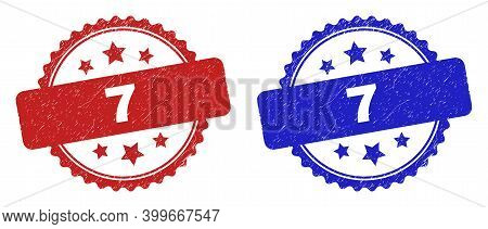 Rosette 7 Seal Stamps. Flat Vector Scratched Seal Stamps With 7 Title Inside Rosette With Stars, In