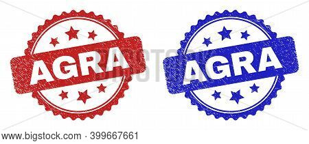 Rosette Agra Seal Stamps. Flat Vector Grunge Seal Stamps With Agra Caption Inside Rosette With Stars